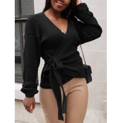 lovely Sweet V Neck Lace-up Black Sweater