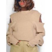 lovely Stylish O Neck Hollow-out Khaki Sweater
