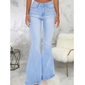 lovely Trendy High-waisted Flared Baby Blue Jeans