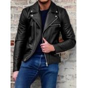 Lovely Street Turndown Collar Zipper Design Black