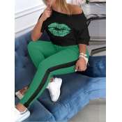 Lovely Casual O Neck Lip Print Green Plus Size Two-piece Pants Set