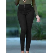 lovely Casual Skinny High-waisted Black Jeans