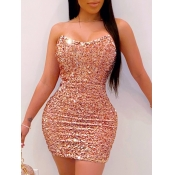 lovely Sexy Dew Shoulder Sequined Pink Mini Dress