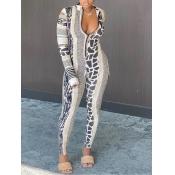 lovely Trendy Leopard Print Patchwork One-piece Jumpsuit(Batch Print)