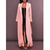 lovely Casual Turndown Collar Basic Pink Trench Co
