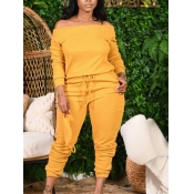 Lovely Casual Dew Shoulder Lace-up Yellow Plus Size Two-piece Pants Set