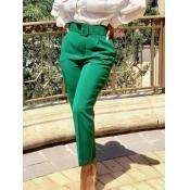 lovely Stylish High-waisted Basic Green Pants