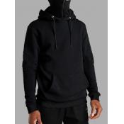 Lovely Casual Hooded Collar Zipper Design Black Me