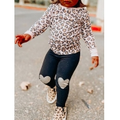 Lovely Casual O Neck Leopard Print Girl Two-piece Pants Set