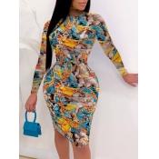 Lovely Trendy O Neck Print Skinny Skyblue Knee Length Dress