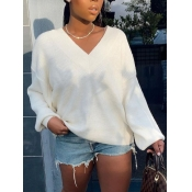 lovely Casual V Neck Loose White Sweater