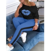lovely Casual O Neck Lip Print Blue Plus Size Two-