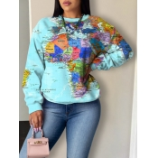 Lovely Casual O Neck Print Baby Blue Hoodie