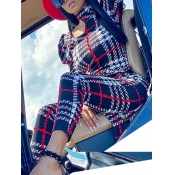 Lovely Stylish Grid Print Hollow-out Red One-piece Jumpsuit