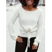 lovely Leisure O Neck Bandage Design White Sweater