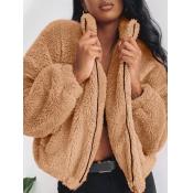 Lovely Trendy Zipper Design Light Camel Coat