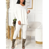 Lovely Casual V Neck Basic White Plus Size Two-pie