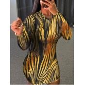 lovely Stylish O Neck Zebra Stripe Mini Dress