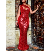 lovely Party One Shoulder Hollow-out Sequined Red
