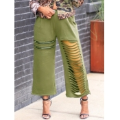 lovely Street Hollow-out Army Green Pants