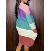 lovely Stylish Color-lump Patchwork Pink Cardigan