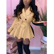 Lovely Trendy Turndown Collar Patchwork Fold Design Khaki Mini Dress