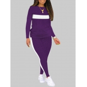 lovely Casual O Neck Patchwork Purple Plus Size Tw
