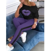 Lovely Casual O Neck Lip Print Purple Plus Size Tw