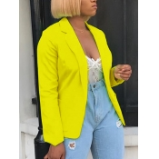 lovely Casual Turndown Collar Basic Yellow Blazer
