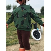 lovely Casual O Neck Print Green Girl Hoodie