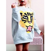 lovely Casual O Neck Print Grey Girl Hoodie