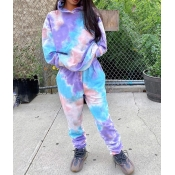 lovely Leisure Hooded Collar Tie Dye Multicolor Tw