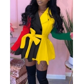 Lovely Stylish Turndown Collar Patchwork Fold Design Yellow Mini Dress