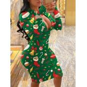 Lovely Christmas Mandarin Collar Print Zipper Desi