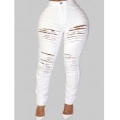 lovely Street Broken Holes White Plus Size Jeans