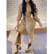 Lovely Leisure Hooded Collar Lace-up Cream-colored Two Piece Pants Set