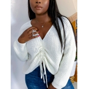 lovely Street V Neck Fold Design White Sweater