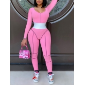 lovely Sportswear U Neck Patchwork Pink One-piece