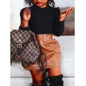 Lovely Casual Turtleneck Buttons Design Black Girl Two-piece Skirt Set