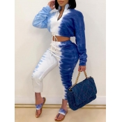 Lovely Trendy Tie Dye Zipper Design Blue Two Piece Pants Set(Ankle length Pants)