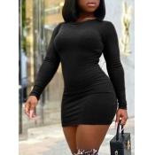 Lovely Casual O Neck Basic Skinny Black Mini Dress