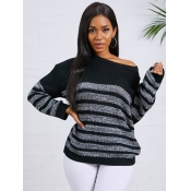 lovely Trendy O Neck Striped Patchwork Black Grey