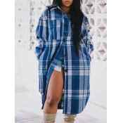 lovely Casual Turndown Collar Grid Print Blue Coat
