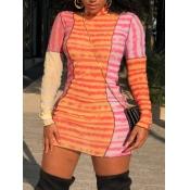Lovely Trendy Turtleneck Striped Print Patchwork Red Mini Dress