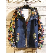 lovely Casual Hooded Collar Patchwork Print Blue M