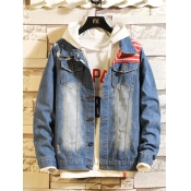 lovely Casual Broken Holes Blue Men Denim Jacket