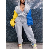 Lovely Sportswear Hooded Collar Patchwork Grey Two Piece Pants Set