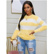 lovely Leisure O Neck Striped Yellow Sweater