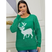 lovely Christmas Day O Neck Print Green Sweater