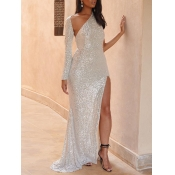 lovely Party Backless Side High Slit White Trailin